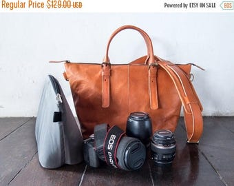 SUMMER SALES Dslr Camera Bag with Insert with shoulder strap - genuine Leather shoulder bag - tote bag - Leather with canvas lining - Tanned