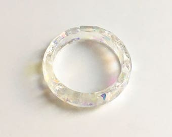 Clear Resin Ring with Glitter
