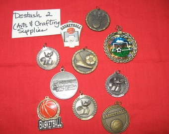 Crafting, supplies, metal, collage, framing,  display, collection, 10 pieces, soccer, basketball, scholastic , Medals (Destash 2)