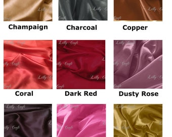 """38 COLORS TO CHOOSE - Charmeuse Satin Fabric 58""""/60"""" Inches Wide - Sold By The Yard (2)"""