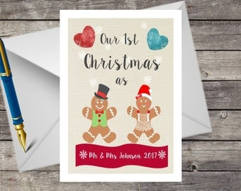 Personalised Handmade Couples 1st Christmas Card,Husband Wife first Christmas Card Keepsake, Mr & Mrs 1st Xmas together