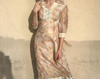 1970's Natural Toned Floral and Lace Maxi Dress