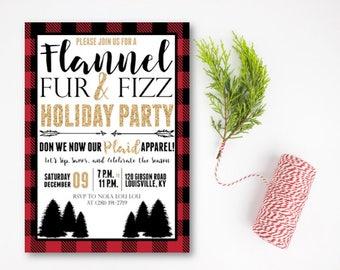 Flannel, Fur, and Fizz Invitation, Flannel Christmas Party Invitation, Holiday Party Invitation, Christmas Party Invitation, DIY or Printed