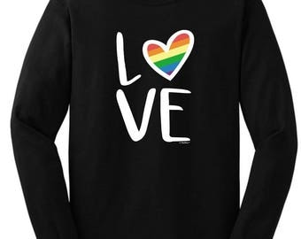 Gay Pride Rainbow Love Long Sleeve T-Shirt 2400 - WGL-100