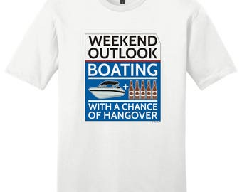 Funny Gift Weekend Outlook Boating With a Chance of Hangover Young Men's T-Shirt DT6000 - PP-928