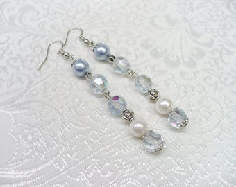 OOAK Vintage Blue Beaded/Blue Crystal/Blue and White Pearl Earrings - silver tone metal - faux pearls -repurposed-something blue- upcycled