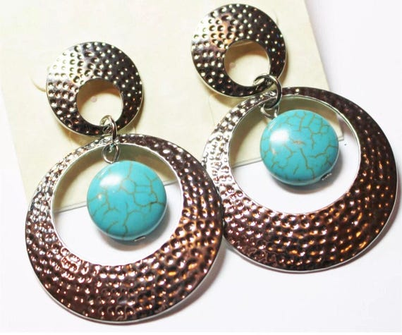 Unworn Vintage Large Silver tone Hoops with faux Turquoise dangles Pierced Earrings