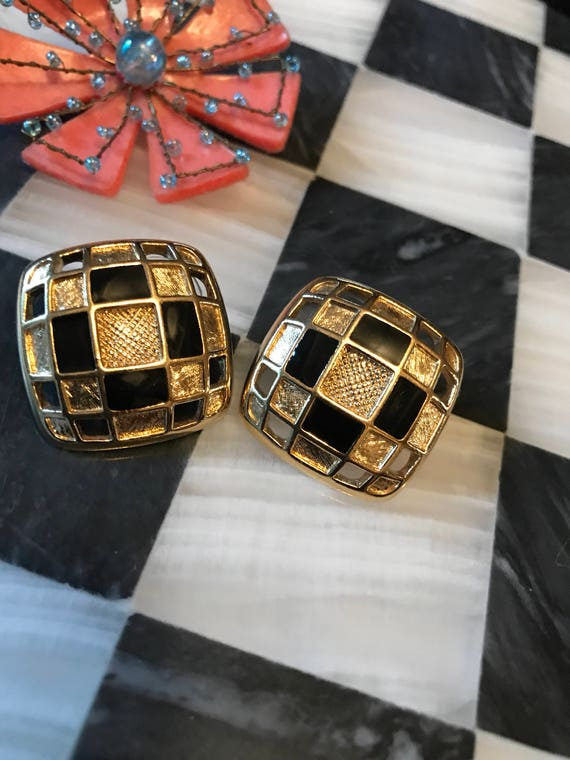 Elegant 80s Deco Glam Bold Bling Open Work goldone with Black Enamel checker board design post Earrings Mint Condition Vintage