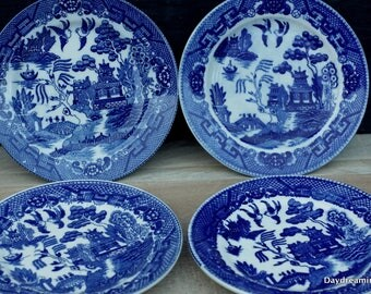 Blue Willow Ware Bread Plates Dessert set of 4 mismatch Dishes Japan Blue and white Transfer ware Shabby Cottage Chic China Wedding China