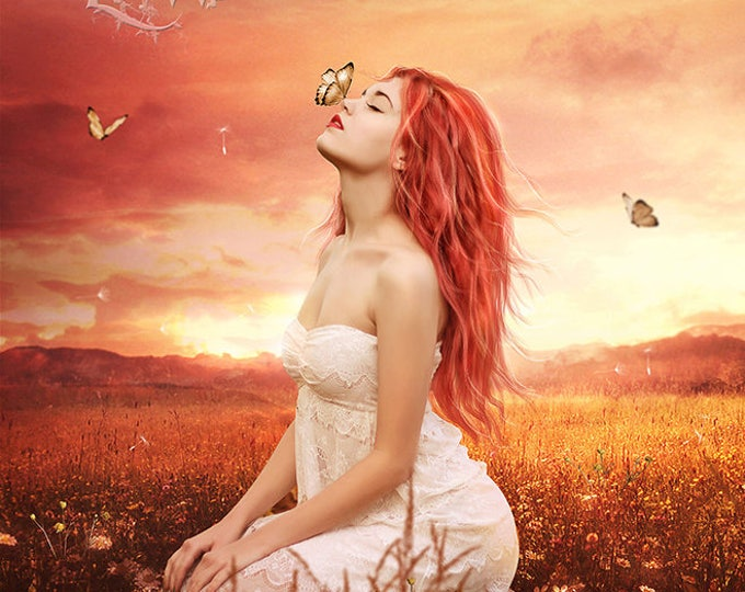 Butterfly Kisses fantasy woman art print by Enchanted Whispers Art