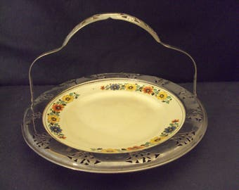 Vintage ceramic plate in silver plate carrier Golden Marie Farberware Sebring OH