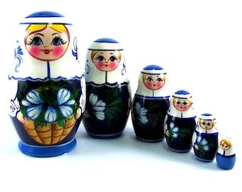 Nesting Dolls 6 pcs Russian Matryoshka doll Babushka doll Russian stacking dolls for kids Art dolls Authentic wooden russian doll Galanthus