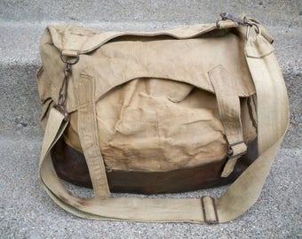 Vintage WWII 2 WW2 Era US Army Canvas Leather Shoulder Messenger Field Gear Bag Pack