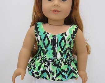 18 inch doll clothes-  Cute green aztec print surfrider top.