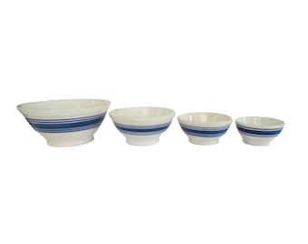 Antique Stoneware Pottery White and Blue Striped Farmhouse Nesting Mixing Bowl Set of 4