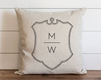 Family Crest_Initials 20 x 20 Pillow Cover // Everyday // Wedding  // Housewarming // Anniversary // Initial // Gift // Accent Pillow
