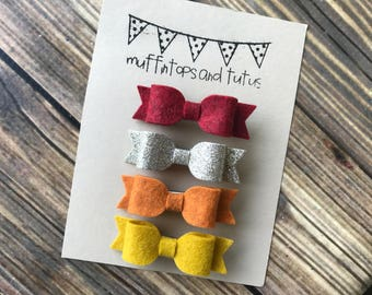 Glitter and felt bows - READY TO SHIP - alligator clips - fall bows