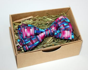 Men's Bow Tie, Colourful Bow Tie, Pink Bow Tie, Birthday Bow Tie, Wedding Bow Tie, Handmade Bow Tie, Wedding Bow Tie, Men's Accessories