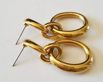 Vintage Napier Earrings, For Pierced Ears, 2 Hoops Earrings, Dangle and Drop, Napier Jewelry