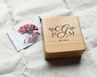 Personalized Monogram Wooden Keepsake Box. Custom Memory Box with Lid.