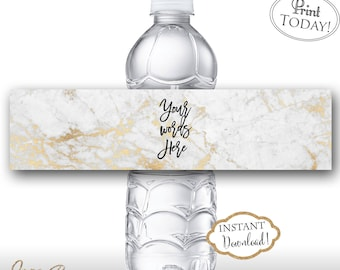 INSTANT DOWNLOAD - Marble Water Bottle Label - Rose Gold Glitter - Editable Water Bottle Label - Modern Geometric DIY Bottle Label 0662