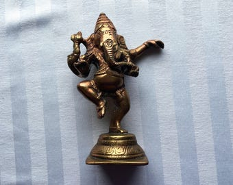 Ganesha Figurine|Brass Ganesha|Dancing Ganesha Figurine|Elephant|Good Fortune|New Beginnings