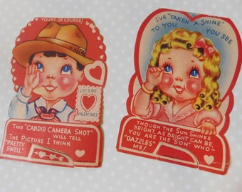 Vintage Valentine's Day Cards - Set of Two
