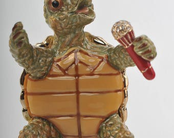 Turtle Singing  with a Microphone Faberge Styled Trinket Box Handmade by Keren Kopal Enamel Painted Decorated with Swarovski Crystals