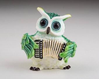 Green Owl Playing Accordion Trinket Box Musical Figure Handmade Decorated Artwork Handmade Home Decor