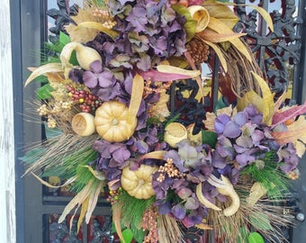 Tuscan Fall Wreath Thanksgiving Wreath Elegant Autumn Pumpkins Fireplace Decor Earth Tone Wreath Farm House French Country Wreath FALL