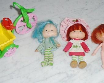 Vintage Kenner 1980s Strawberry Shortcake Bike & 3 Dolls