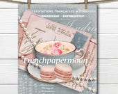 Vintage French Digital Teatime, Shabby Tea, Pearls, Carte Postale, Printable Tea Graphic, french Pillow Transfer, Large Size