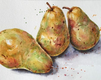 Pears watercolor - original pear art - original watercolor art - still life painting - kitchen art