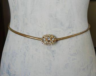 Vintage Gold Cinch Stretch Belt, Rhinestone Buckle Snake Chain Belt