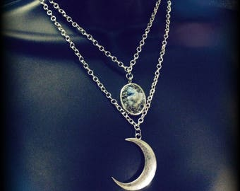 Moon Necklace with Frosty Agate Druzy Pendant Double Layer Chain Necklace Witchy Jewelry Mystical