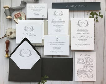 Elegant Black and White Wedding Invitation