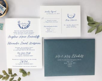 Dusty Blue Thermography Wedding Invitations