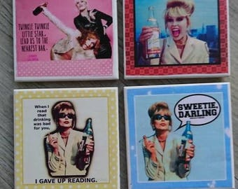 Comedy coasters. Absolutely Fabulous design. A perfect gift.