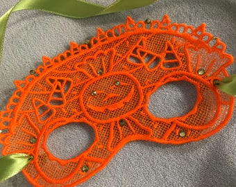 Lace Candy Corn Pumpkin Mask