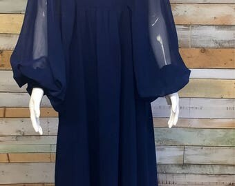 Gorgeous royal blue 70s floaty maxi dress with balloon sleeves M Pat Farrell for Fiona dresses w1.