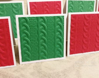 Sweater Mini Cards & Envelopes, 8 Red Green Embossed Sweater Cards, Mini Note Cards, 3 Inch Envelopes, Lunchbox Cards, Blank Mini Cards