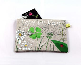 """Natural linen pouch illustrated """"make a wish"""""""