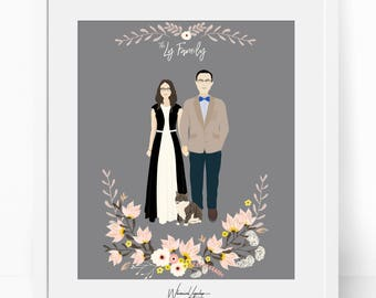 Digital Custom portrait illustration family children personalized wedding drawing printable card gift art digital customized mother's day