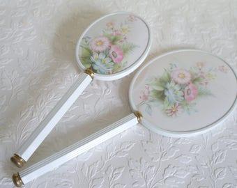 Vintage Vanity Set, Garden Flowers, Mirror and Brush, Hand Mirror, Hair Brush, Dressing Table Mirror, Mirror Set