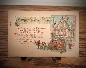 Antique Christmas Post Card Vintage 1923 Season's Greetings Greeting Card Happy Christmas Merry X-Mas Cheer Old Village German Inn Winter