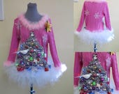 Perfect Pink  Christmas Tree Sweater and matching tutu  light up Womens Ugly Christmas Sweater, Lovely! Custom Made to order