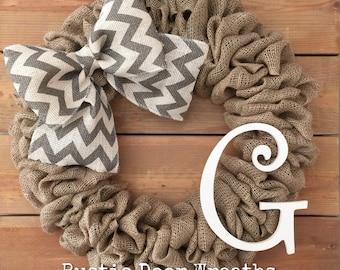 Monogram Initial G Burlap Wreath / Front Door Wreath / Rustic Wedding Decor Gift / Rustic Wreath / Front Door Initial G Hanger