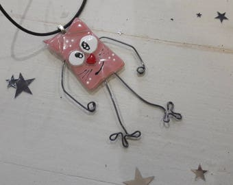 Collar type necklace in glass fusing, funny cat pink