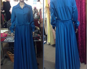 70's Teal Floor length dress