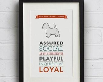 SALE 20% OFF West Highland Terrier Dog Breed Print - Westie Art